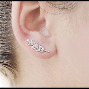 Silver Leafy Ear Climber Earrings